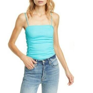 NWT free people on your side ruched bodysuit blue